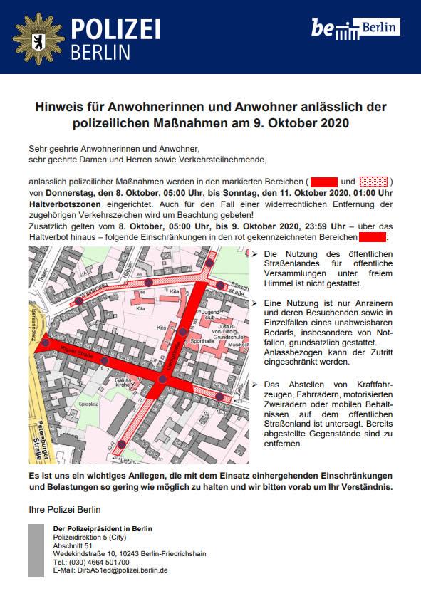 Anreinerinformationen zur Räumung der Liebigstraße 34