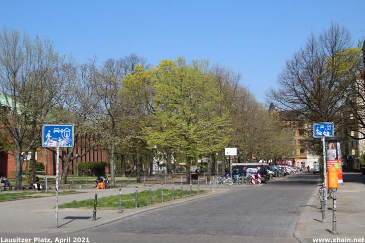 Lausitzer Platz. Ecke Skalitzer Straße (April 2021)