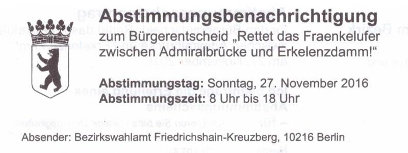 """Falsche Abstimmungsbenachrichtigungen für den Bürgerentscheid """"Rettet das Fraenkelufer"""""""