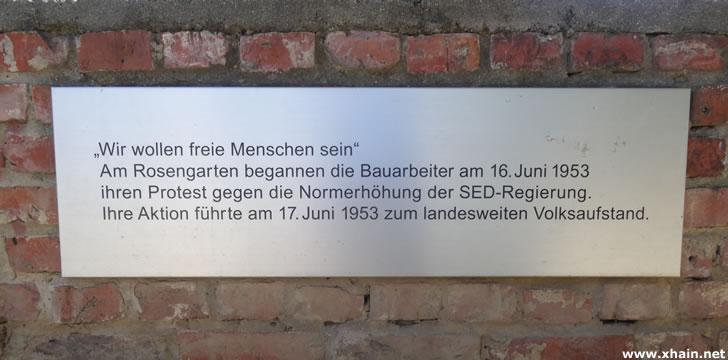 17. Juni 1953: Gedenkstein am Rosengarten