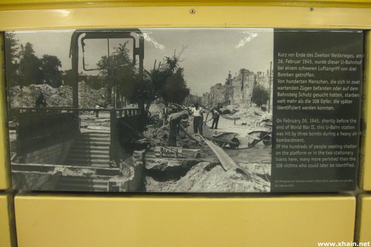 Erinnerungszeichens für die Opfer des Luftangriffs vom 26. Februar 1945 im U-Bahnhof Weberwiese