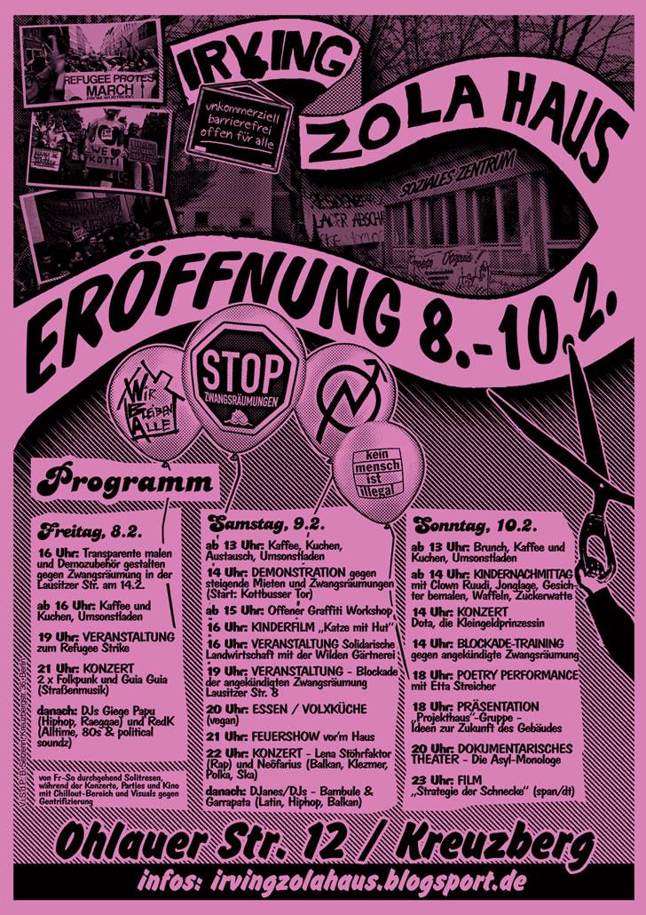 Eröffnungs-Wochenende Irving-Zola-Haus Programm