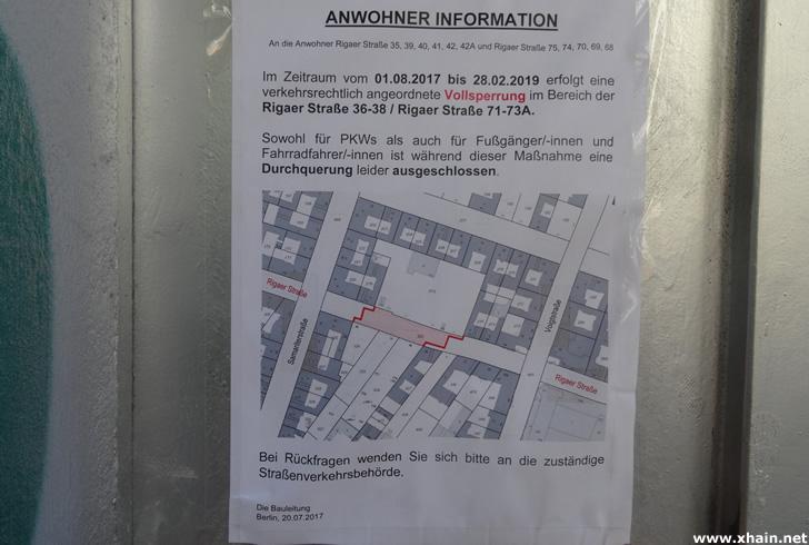 Rigaer Straße zwischen Samariter- und Voigtstraße bis 2019 voll gesperrt
