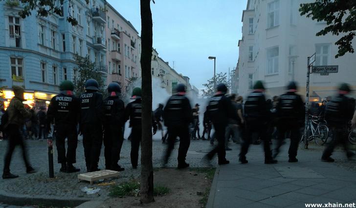 Demonstration für das Hausprojekt Rigaer Straße 94