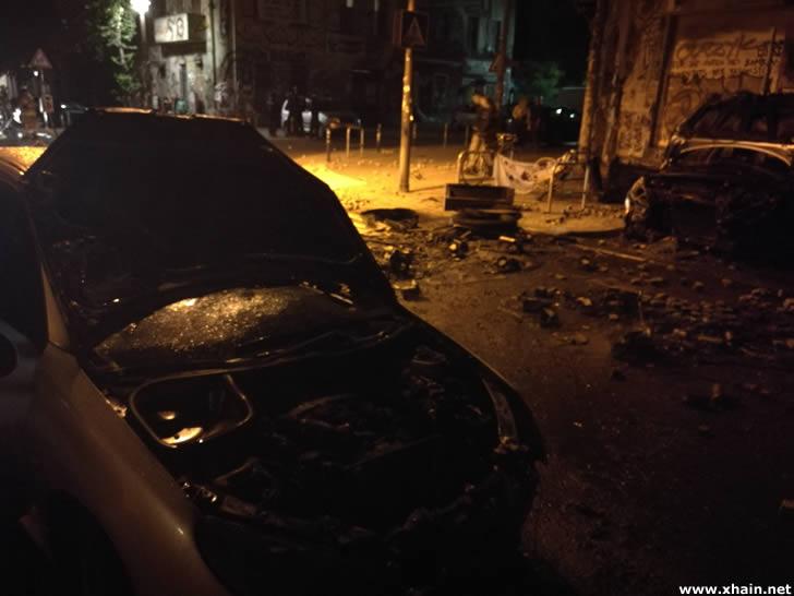 Abgebranntes Auto in der Rigaer Straße