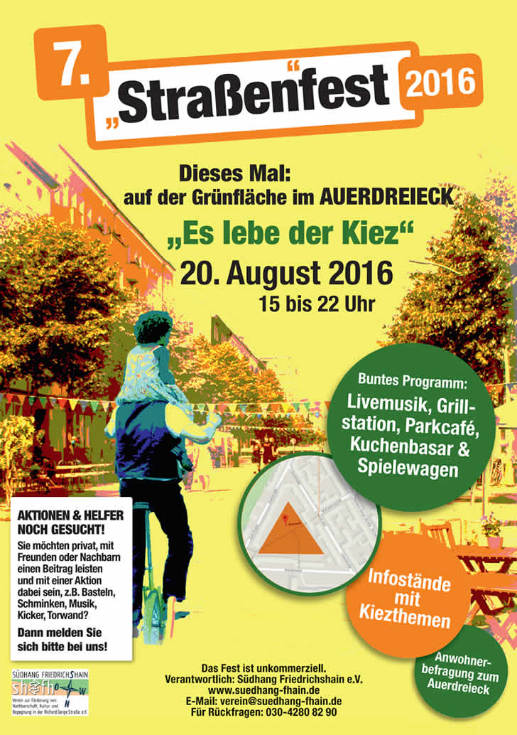 Richard-Sorge-Kiez: Samstag Straßenfest im Auerdreieck